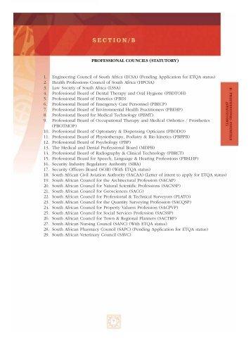 Professional Councils (Statutory) - CHE
