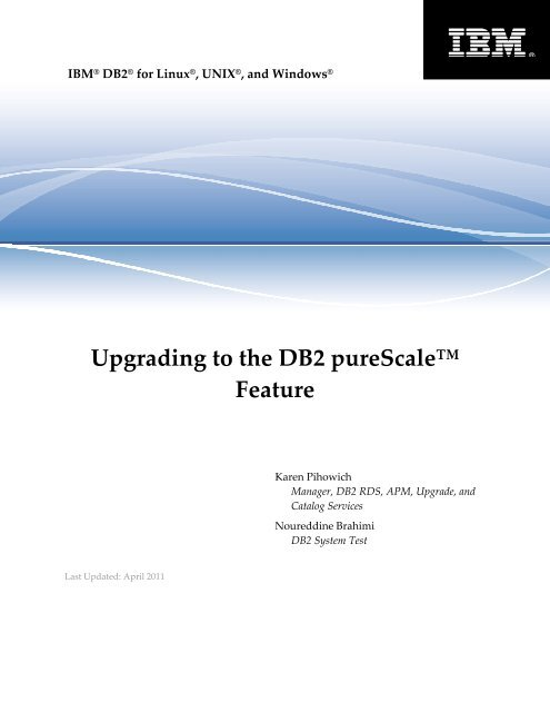 Upgrading to the DB2 pureScale Feature - IBM