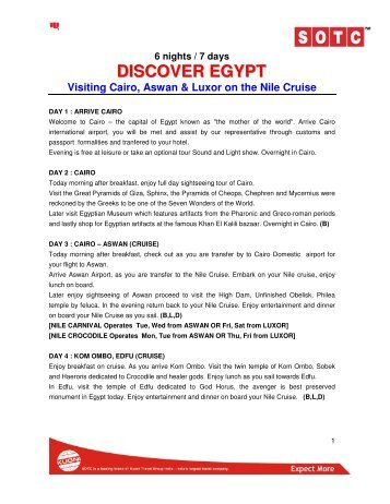 6 nights / 7 days DISCOVER EGYPT Visiting Cairo, Aswan & Luxor ...