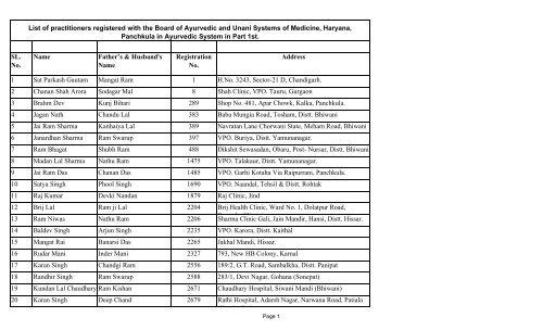 Ayurvedic Part - Board of Ayurvedic and Unani System of
