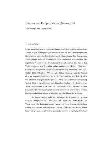 fairness und reziprozitt im diktatorspiel institut fr soziologie - Testdaf Schriftlicher Ausdruck Beispiel