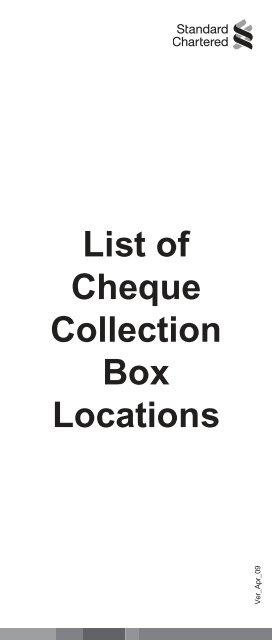 List of cheque collection boxes - Standard Chartered Bank