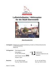 Luftreinhalteplan / Aktionsplan für die Stadt Eberswalde