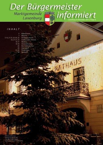 Der Bürgermeister informiert, Folge 6, Dezember 2011 - in Laxenburg