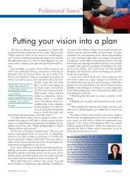 Putting Your Vision Into A Plan – June 2005 - Professional Savvy, LLC