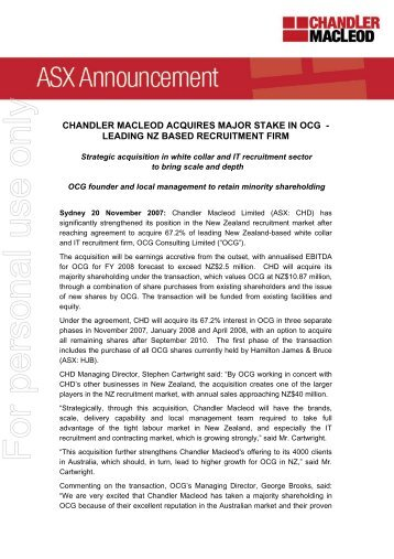 CHD: Chandler Macleod Acquires Major Stake in OCG - Hamilton ...