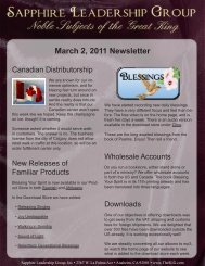 March 2, 2011 Newsletter - Sapphire Leadership Group, Inc.