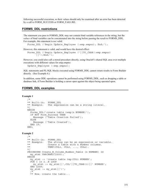 FORMS_DDL built-in Descri
