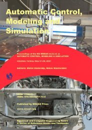 automatic control, modeling & simulation - WSEAS