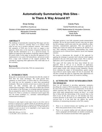 Automatically Summarising Web Sites - Is There A ... - Einat Amitay