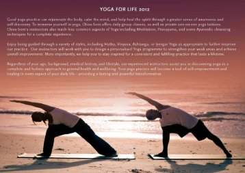 DOWNLOAD YOGA For LIFE RETREAT PRICE 2012 - Chiva-Som