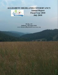 ALLEGHENY HIGHLANDS CONSERVANCY Annual Report Fiscal ...