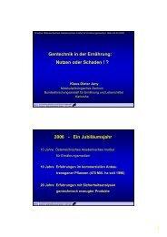 Gentechnik in der Ernährung - Dr. Kurt A. Moosburger