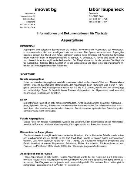 Aspergillose - Labor - Laupeneck