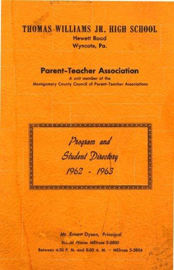 PTA Booklet 1962-63 - Cheltenham High School Class of 1968