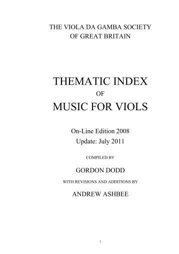 Thematic index music for viols - The Viola da Gamba Society