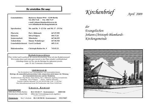 """2 KIRCHENBRIEF DER """"JCB"""