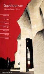 Eurythmie Vorträge Konzerte Schauspiel Kolloquien ... - Goetheanum