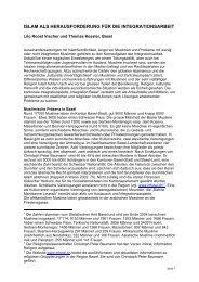 ISLAM und Integration.rtf - Integration Basel - Basel-Stadt
