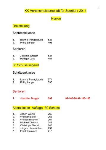 KK-Vereinsmeisterschaft für Sportjahr 2011 Herren Dreistellung ...