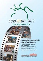 EUROCIDO® 2012 Aussteller-Verzeichnis List of exhibitors