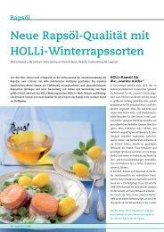 Neue Rapsöl-Qualität mit HOLLi-Winterrapssorten - DSV