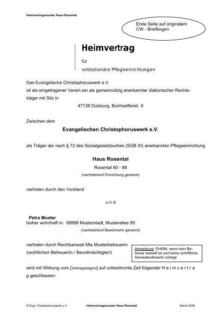 Musterheimvertrag Evangelisches Christophoruswerk Ev
