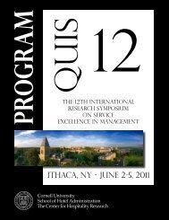 ITHACA, NY - JuNE 2-5, 2011 - Cornell School of Hotel ...