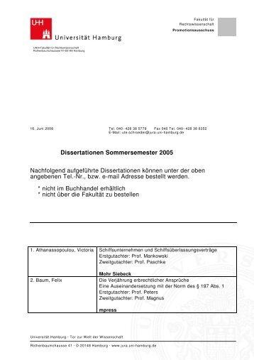 Dissertationen Sommersemester 2005 - Universität Hamburg