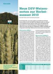 Neue DSV-Weizen- sorten zur Herbst- aussaat 2010