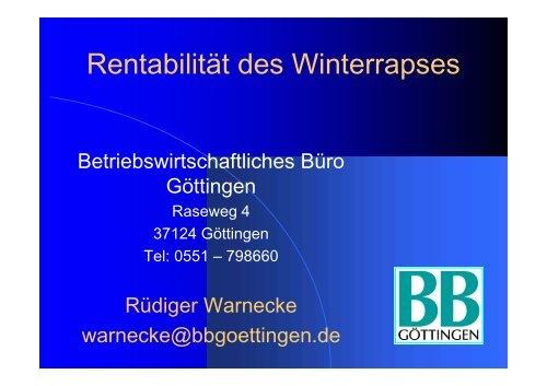 Rentabilität des Winterrapses - DSV