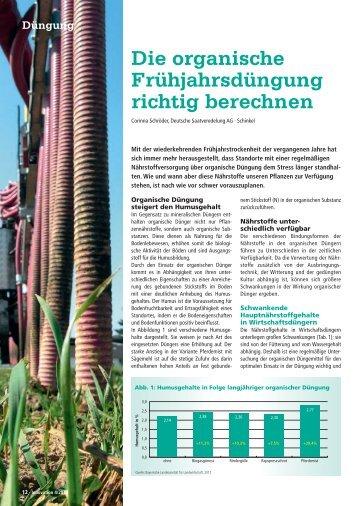 Die organische Frühjahrs düngung richtig berechnen - DSV