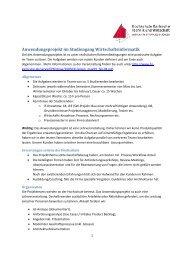 Anwendungsprojekt im Studiengang Wirtschaftsinformatik - eC4u
