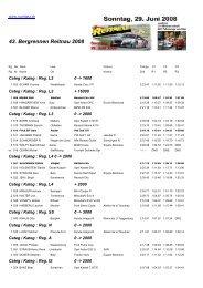 43. Bergrennen Reitnau 2008 - Racedata