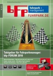 Taktgeber für Fuhrparkmanager: bfp-FORUM 2010 - fuhrpark.de