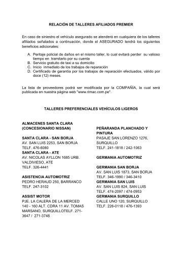 RELACIÓN DE TALLERES AFILIADOS PREMIER ... - RIMAC Seguros