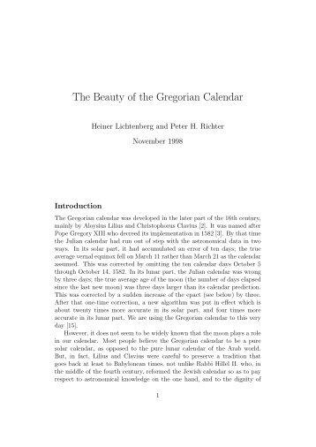 The Beauty of the Gregorian Calendar