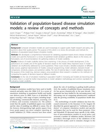 Validation of population-based disease simulation ... - BioMed Central