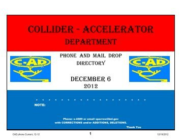 Collider - Accelerator Department