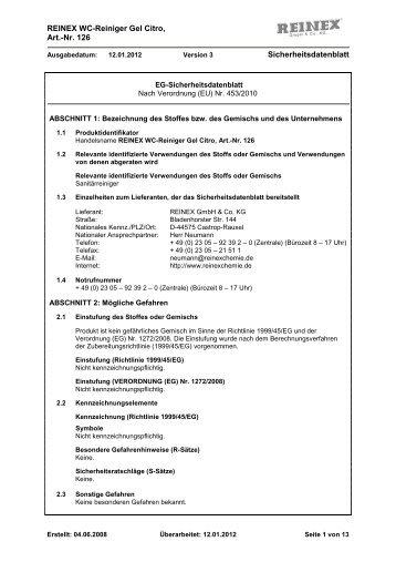 WC-Reiniger Gel Citro 126 - Reinex Chemie GmbH & Co. KG