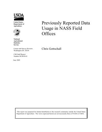 Previously Reported Data Usage in Field Offices - National ...