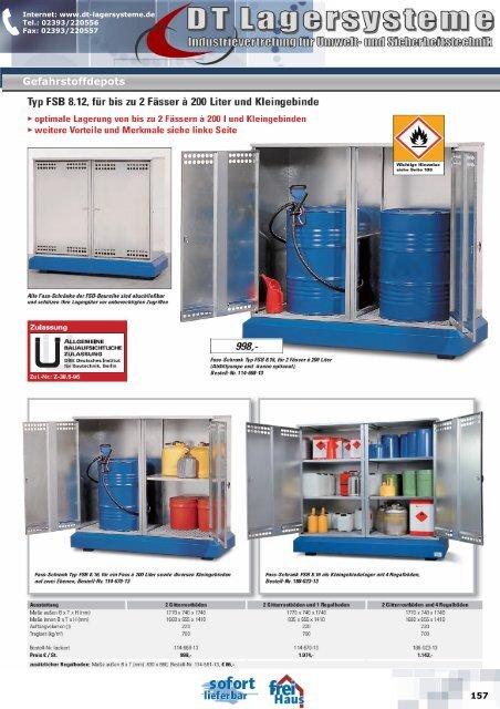 Typ FSB 8.12, für bis zu 2 Fässer à 200 Liter und ... - DT Lagersysteme