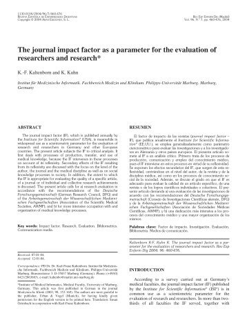 The journal impact factor as a parameter for the evaluation of ...