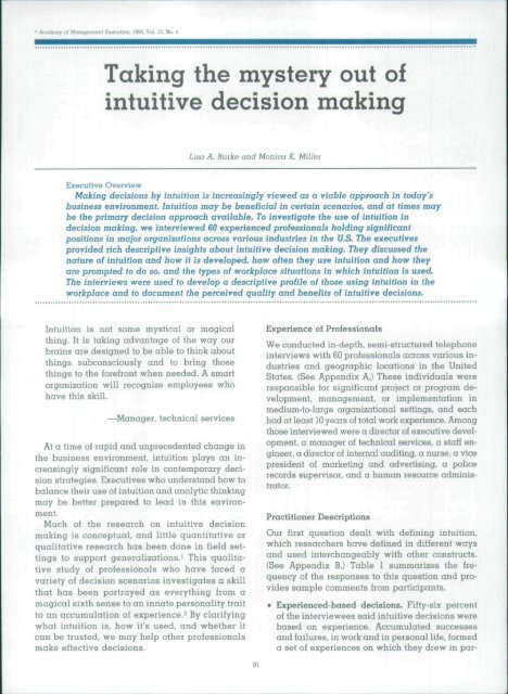 Taking the mystery out of intuitive decision making