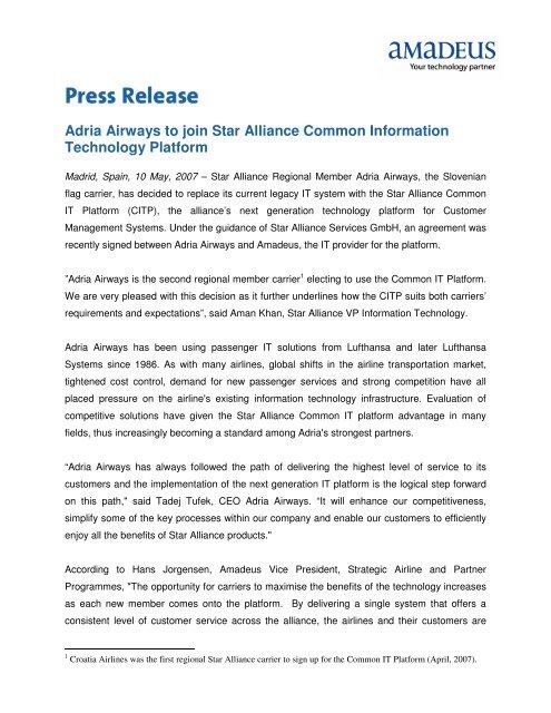 Adria Airways to join Star Alliance Common Information