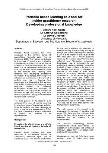 Portfolio based learning as a tool for insider practitioner ... - CEM