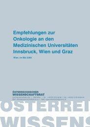 Empfehlungen zur Onkologie an den ... - Wissenschaftsrat