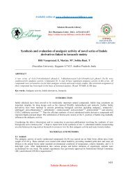 Synthesis and evaluation of analgesic activity of novel series of ...