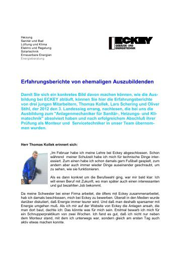 Erfahrungsberichte von ehemaligen Auszubildenden - Eckey