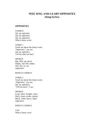 Wee sing and learn opposites song lyrics